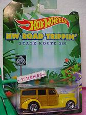 2014 Walmart ROAD TRIPPIN #6 '40s WOODIE☆Yellow☆360☆Black Sand Beach☆Hot Wheels