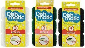 9 x Dishmatic Sponge Refills General Purpose / Non Scratch / extra heavy duty