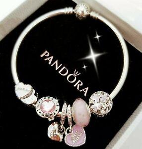 Authentic Pandora Bracelet Silver Bangle with Pink Best Friend European Charms