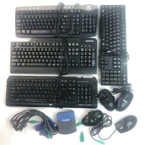 Lot of 4 Keyboards + 4 Mouse USB PS2 + KVM Switch PC Desktop Dell HP Linksys