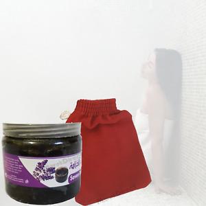 Moroccan Black Beldi Soap Lavender Exfoliating Kessa Glove Hammam Spa Savon Noir