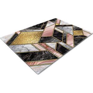 Glass Chopping Cutting Cutting Board Work Top Saver Large Pink Gold Black Design