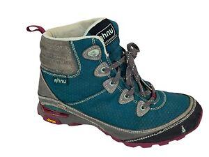 Ahnu Sugarpine Waterproof Vibram Hiking Boots Women Size 7.5 Teal Fair Condition