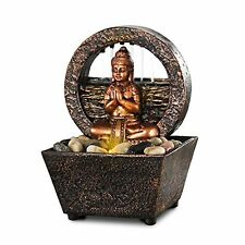 Tranquil Buddha LED Flowing Water Fountain Zen Spiritual Home Decor Statue Figur