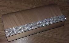 """EMBRAGUE bolso de oro satinado Volum claro cristales brillantes 9""""x4""""x2"""" 2 Correas detatchable"""