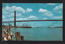 vintage fishing Ambassador bridge Detroit Michigan & Canada ship postcard