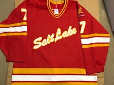 Salt Lake Golden Eagles Game Worn Jersey Used Ihl Calgary Flames Utah Grizzlies