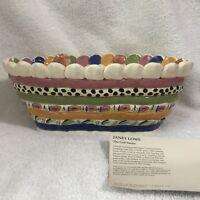 Janet Lowe Coil Series Breadbasket Pottery Handmade Art Clay Basket Sculpture