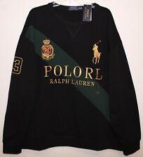 Polo Ralph Lauren Big Tall Mens 4XB Black Gold Big Pony Crest Sweatshirt NWT 4XB