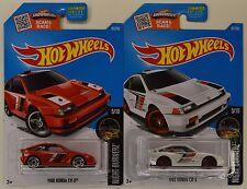 "2016 Hot Wheels: 1985 HONDA CR-X ""Red & White"" - Night Burnerz - 2 Car LOT Set"