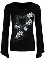 Spiral Direct PURE OF HEART V-Neck Goth Sleeve Top, Lily, Rock, Gothic, Clothing
