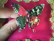 Betsey Johnson Vintage Lucite Floral Lace Rose Print Crystal Butterfly Ring RARE