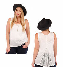 Womens Tank Top Lace, Buttons Back, Ivory Sheer Yummy Plus Size XL/1X