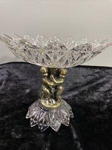 "Cut Glass Compote w/Brass-look Cherubs on Tree Trunk  9"" tall Vintage Look"