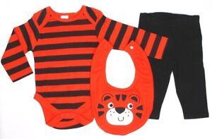 BABY SLEEPSUIT BABYGROW BABYGRO ALL IN ONE BOYS GIRLS RED TIGER NEWBORN Set 3-6