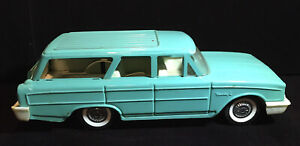 """Vintage BUDDY L Pressed Steel Metal Toy Car 14"""" Turquoise STATION WAGON"""