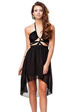 Black Halter Backless Prom Cocktail Party Evening Dress Medium