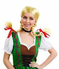 Womens Bavarian Blonde Pigtails Wig for German Beer Girl Drindl Fancy Dress