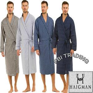 Haigman Mens Gents Poplin 100% Cotton Soft Lightweight Dressing Gown With Pocket