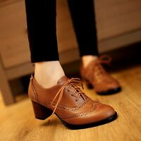 Womens Block Heel Brogue Chelsea Lace Up Casual Work Oxfords Shoes Plus Size New