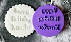 Personalised happy birthday cookie embosser stamp, Cupcake fondant stamp