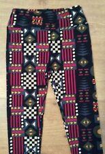 Lularoe Leggings Geometric Womens 2-10 One Size OS Black Background NEW