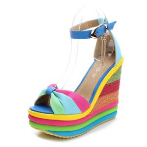Women High Wedge Heel Platform Sandal Ladies Wedge Rainbow Shoe Bow Party Casual