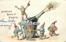 Printed Postcard posted 1905 Gnomes Dance by Champagne Bucket, Round of Pleasure