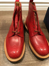 TRICKERS STOW BROGUE BOOTS RED England 8UK 9US NEW