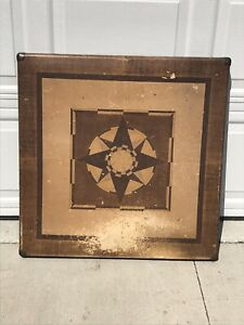 Vintage Card Puzzle Checkers Table Folding Wood Locking Legs Star Pattern