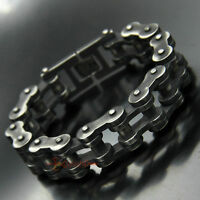 Stainless Steel Motorcycle Bike Chain Bracelet Gunmetal Finish 21mm Wide Heavy