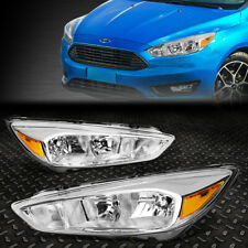FOR 2015-2018 FORD FOCUS GEN3 PAIR CHROME HOUSING AMBER SIDE HEADLIGHT/LAMP SET