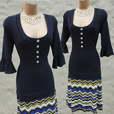 Karen Millen Black Multi Fine Knit Zig Zag Hem Office Work Jumper Dress 4, 14 UK