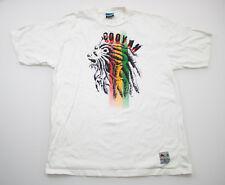 Cooyah Mens T-Shirt Lion Graphic Tee White 100% Ring Spun Cotton Short Sleeve XL