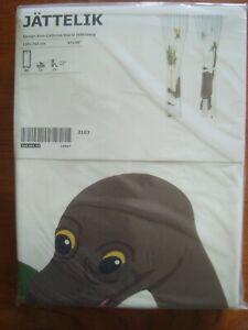 "IKEA JATTELIK Pair of Curtains w/Tie-Backs Dinosaur 47x98"" (120x250cm) White NEW"