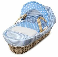 Blue Spots & Stripes Moses Basket 4 Piece Dressing (Basket Not Included)