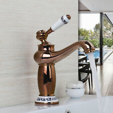 Rose Gold Polish Bathroom Basin Faucet Ceramic Handle Mixer Tap Deck Mounted