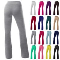 Women's High Waist Yoga Flared Pants Wide Leg Leggings Casual Sports Trousers G7