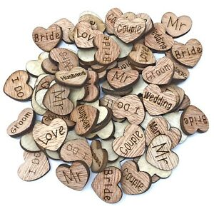 Wedding Mix Love Words Wooden Shabby Chic Craft Scrapbook Confetti Hearts 15mm