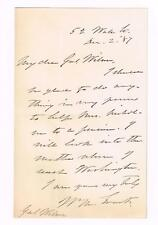 1887 Letter Signed by Senator William Evarts Secretary of State,Attorney General