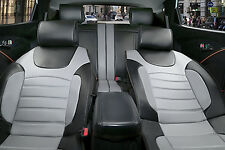 Full Car Seat Covers Cushion Leather Compatible to Jeep 2088 Bk/Gray
