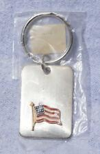 American Flag Stainless Steel Key Ring Fob mv