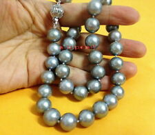"AAAAA natural 18""10-11mm REAL ROUND South sea silver gray pearl necklace 14K"