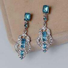 Costume Earrings Clip on Silver Chandelier Art Deco Bleu Wedding Bridal Retro J8