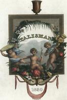 Cherubs decorative title page 1830 Hoogland engraved print with hand color