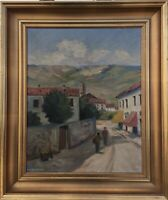 Impressionist Jacob Meyer 1895-1971 People Road Village Italy 20 1/2x16 7/8in