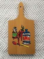 Nevco Cutting Board MCM Mid Century Retro Wood Vintage Spices Kitchen Decor Vtg