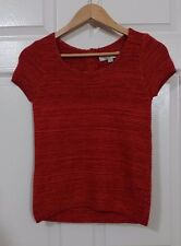 Ann Taylor LOFT Women Knit Top Cupped Sleeves Orange Petite XXS