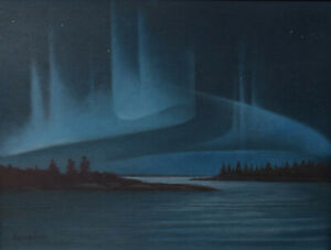 James Lumbers Original Painting Northern Lights 1977 Exhibited McMichael