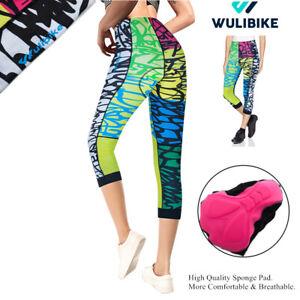 Women Cycling Tights 3/4 Shorts Padded Ladies Leggings Anti Bac Coolmax Pad